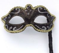Gold and Black Mask on Stick